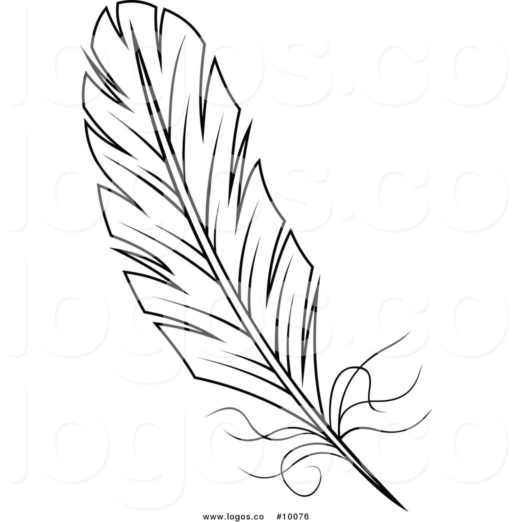 Royalty Free Vector of a Black and White Feather Logo.