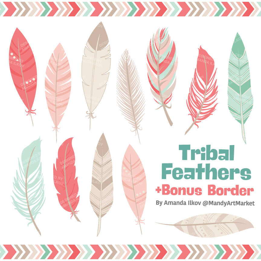 Professional Tribal Feathers Clipart & Vectors in Mint Coral.