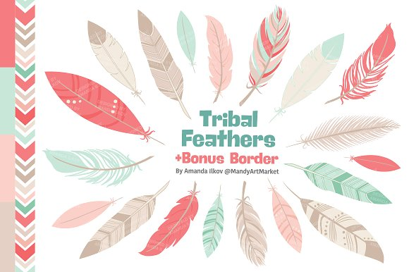 Mint & Coral Feathers Clipart ~ Illustrations on Creative Market.