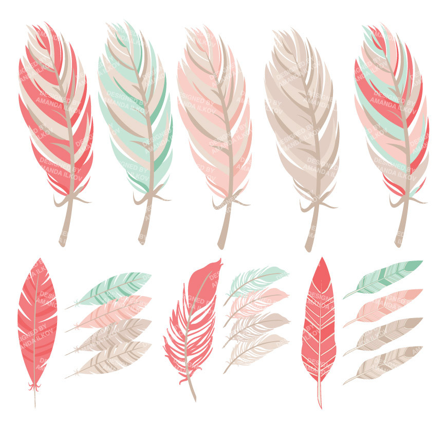 Tribal Feathers Clipart in Mint & Coral.