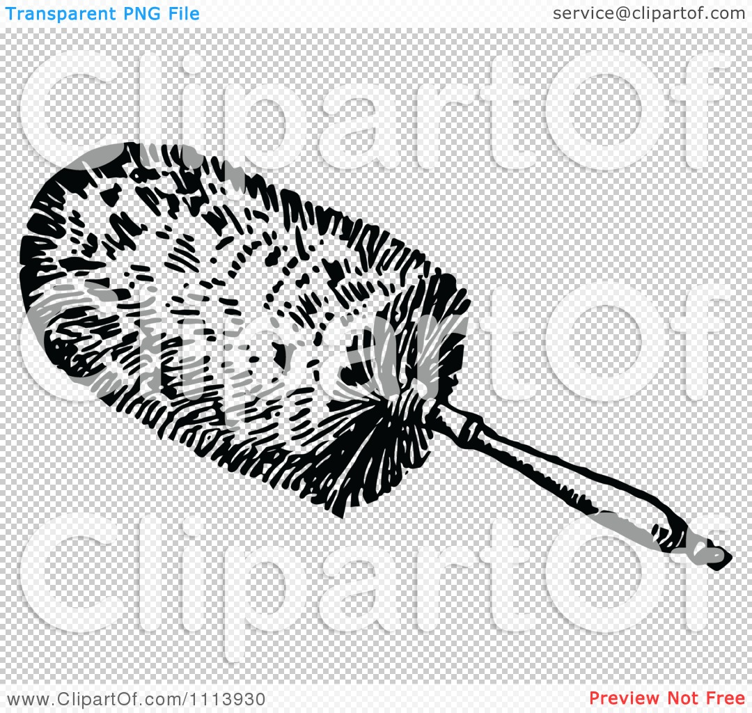 Clipart Vintage Black And White Cleaning Feather Duster.
