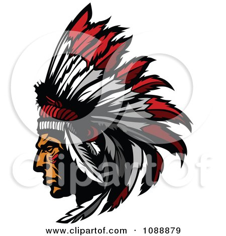 Clipart Native American Chief Profile With A Feather Headdress.