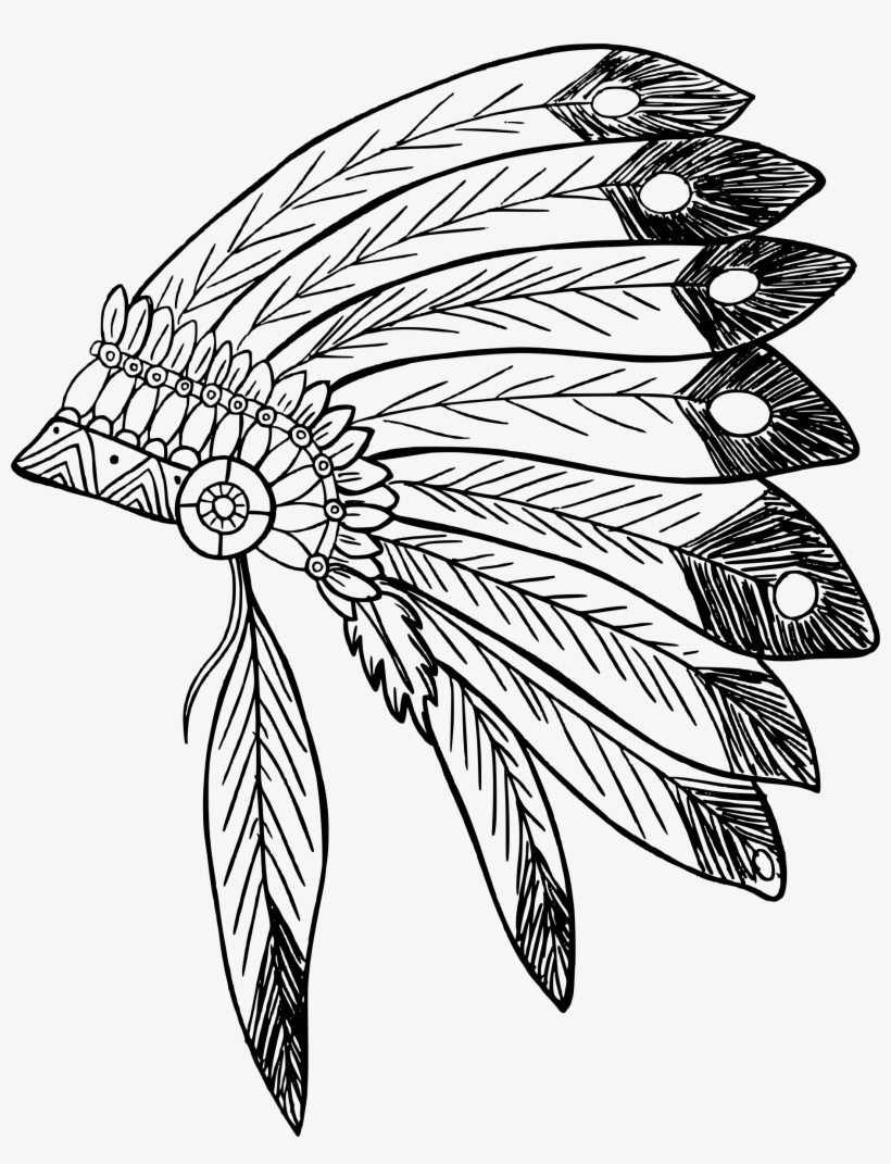 28 Collection Of Indian Feather Headdress Clipart.