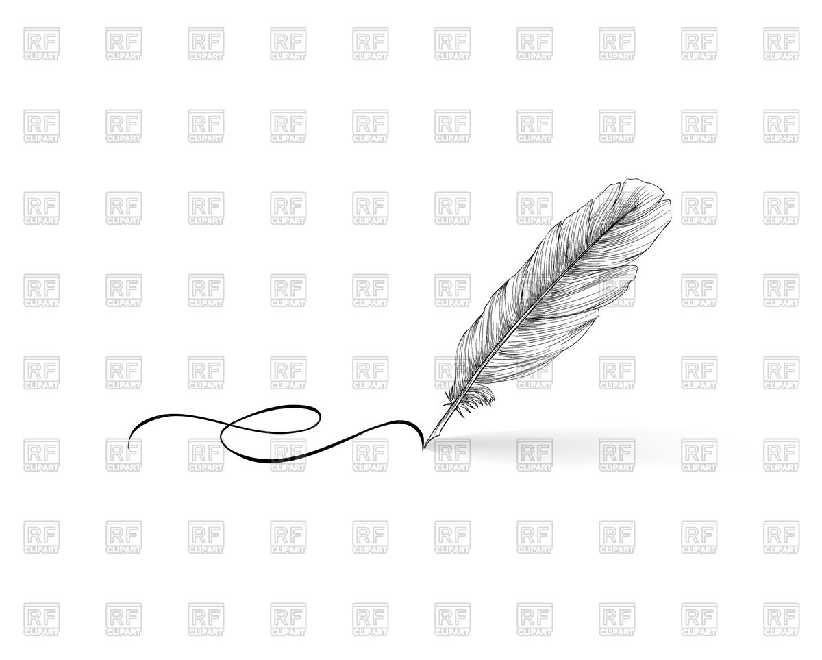Feather pen writing on white background Stock Vector Image.