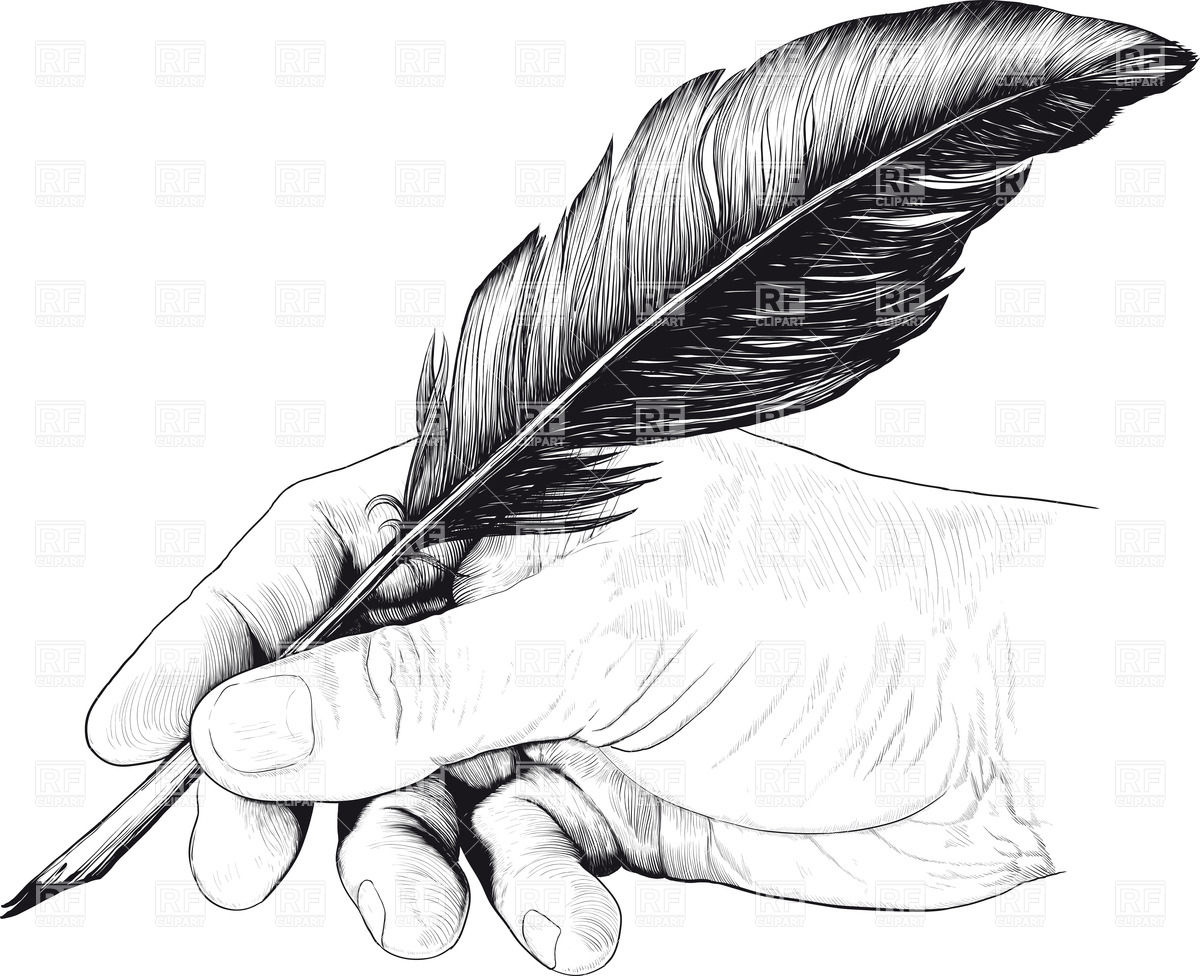 Vintage drawing of hand with feather pen Stock Vector Image.