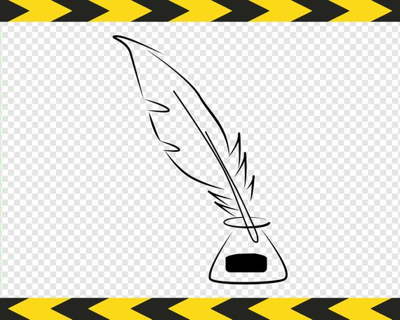 Feather quill pen SVG Ink well Writer Writing Clipart Cut files for Cricut  DXF PDF Png.