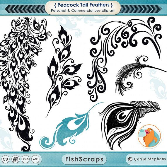 Peacock Tail Feather Clip Art, Decorative Design for Vinyl.