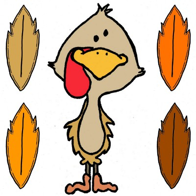 Turkey with no tail feathers clipart free.