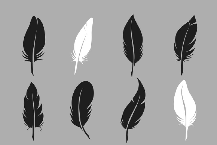Fluffy feather vector icons.