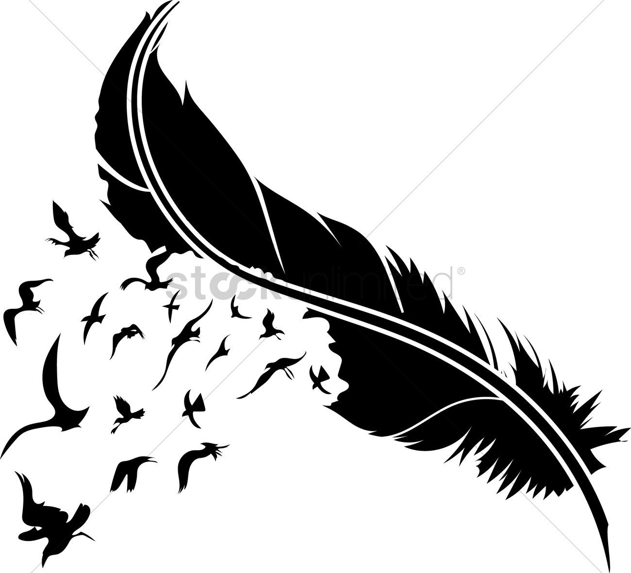 Feather with birds clipart 9 » Clipart Portal.
