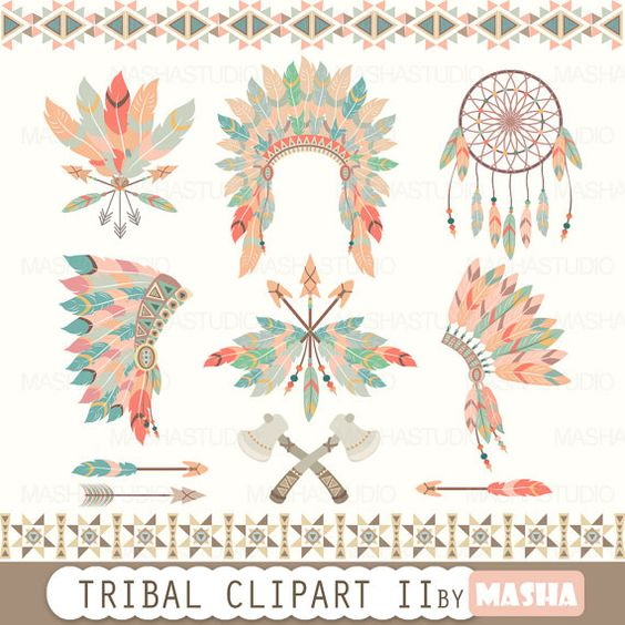 """Tribal clipart: """"TRIBAL CLIPART II"""" with feather headdress clipart."""