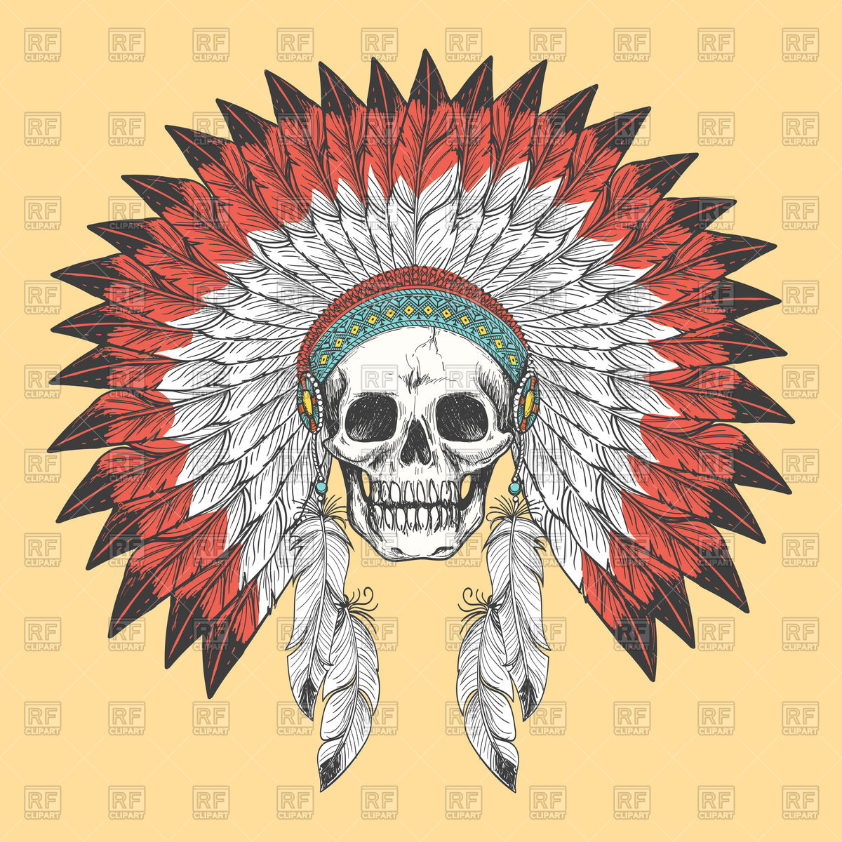 Native indian skull in feather headdress Vector Image #138210.