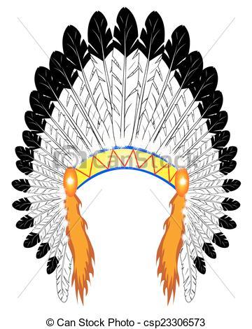 Indian feather headdress clipart.