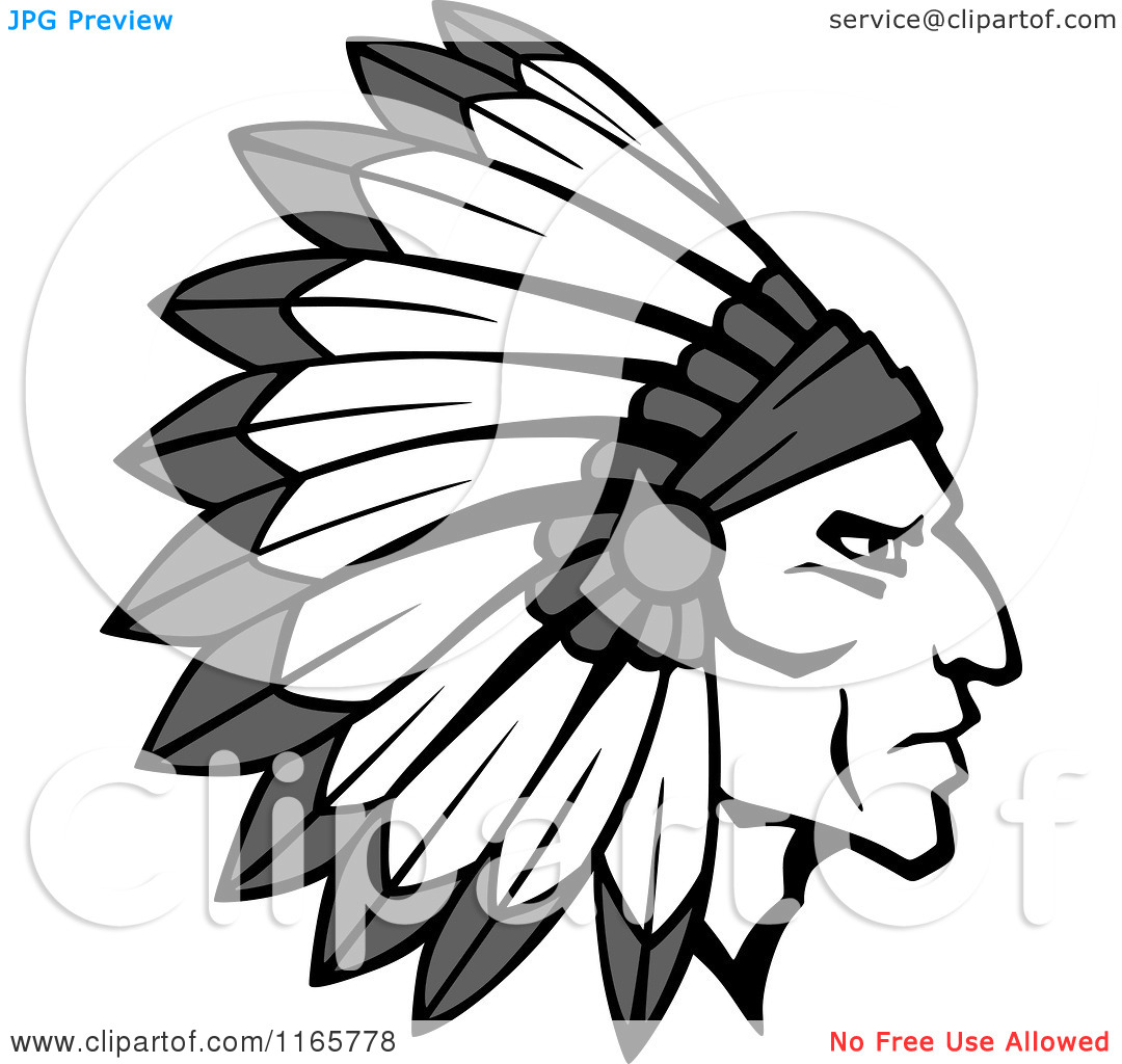 Clipart of a Grayscale Native American Brave with a Feather.
