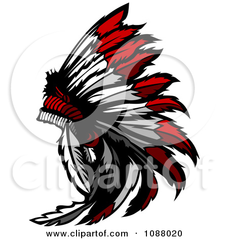 Clipart Native American Chief And Feathered Headdress.