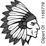 Clipart of Native American Braves with Feathered Headdresses 2.