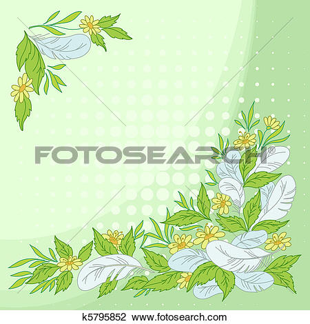 Clipart of Leaves, flowers and feathers on green k5795852.