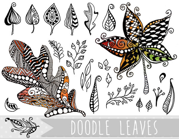 Doodle Leaves Clipart.