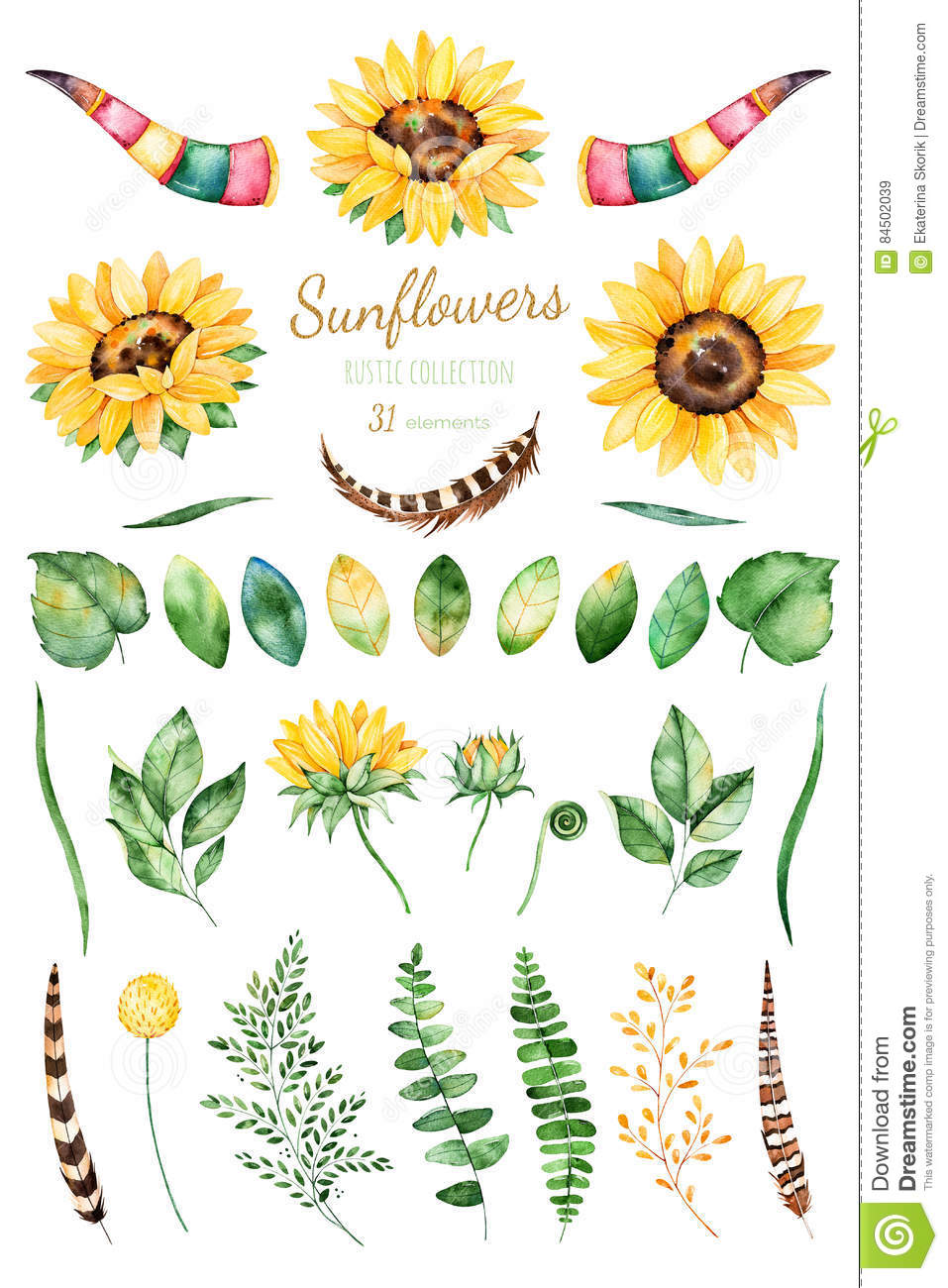 Handpainted Watercolor Sunflowers.31 Bright Watercolor Clipart Of.