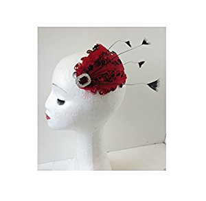 Red & Black Feather Vintage Fascinator 1920s 1940s Races Hair Clip.