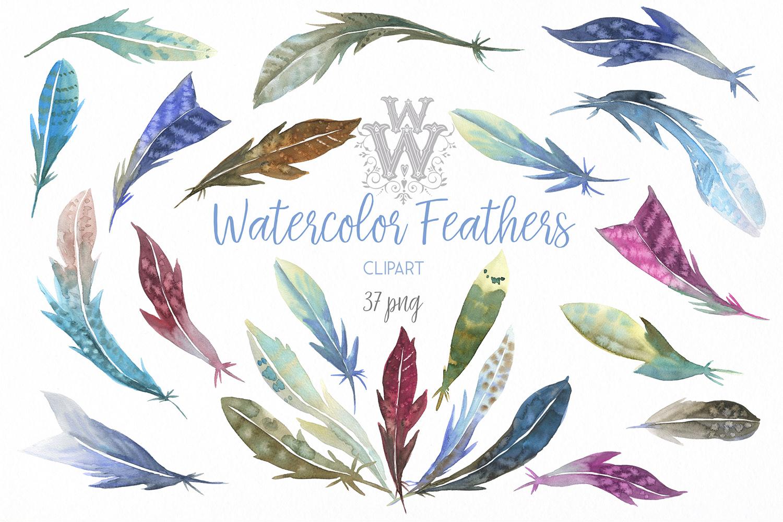 Watercolor feathers clip art, tribal Boho wedding clipart.