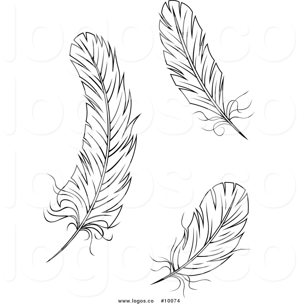 Feathers clipart black and white.