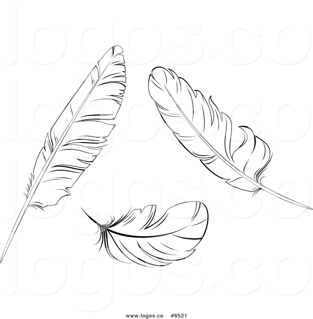 Feather Black And White Clipart.