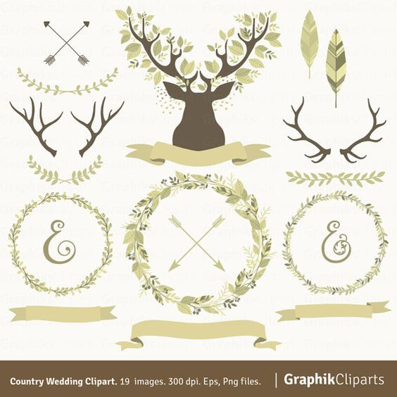 Country Wedding Clipart. Laurel Wreaths, Branches, Antlers.