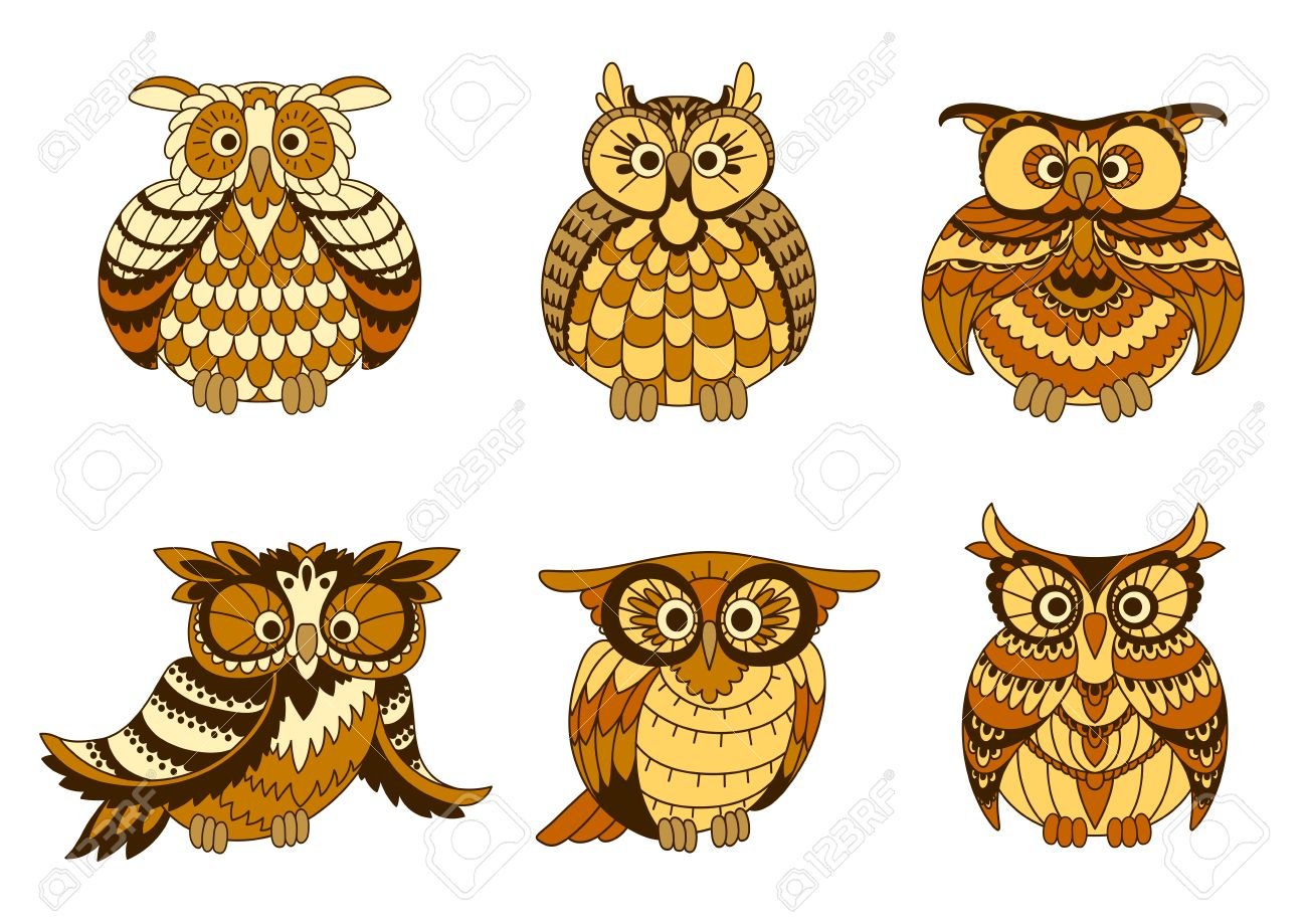 Cartoon Owls Birds With Brown And Yellow Plumage, Ornamental.