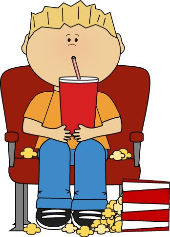 clipart of boy eating popcorn #8