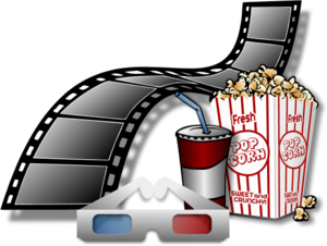 Movie Film with Popcorn and Soda Drink.
