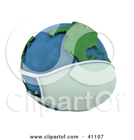 Clipart Illustration of a 3d Globe Wearing A Face Mask, The.