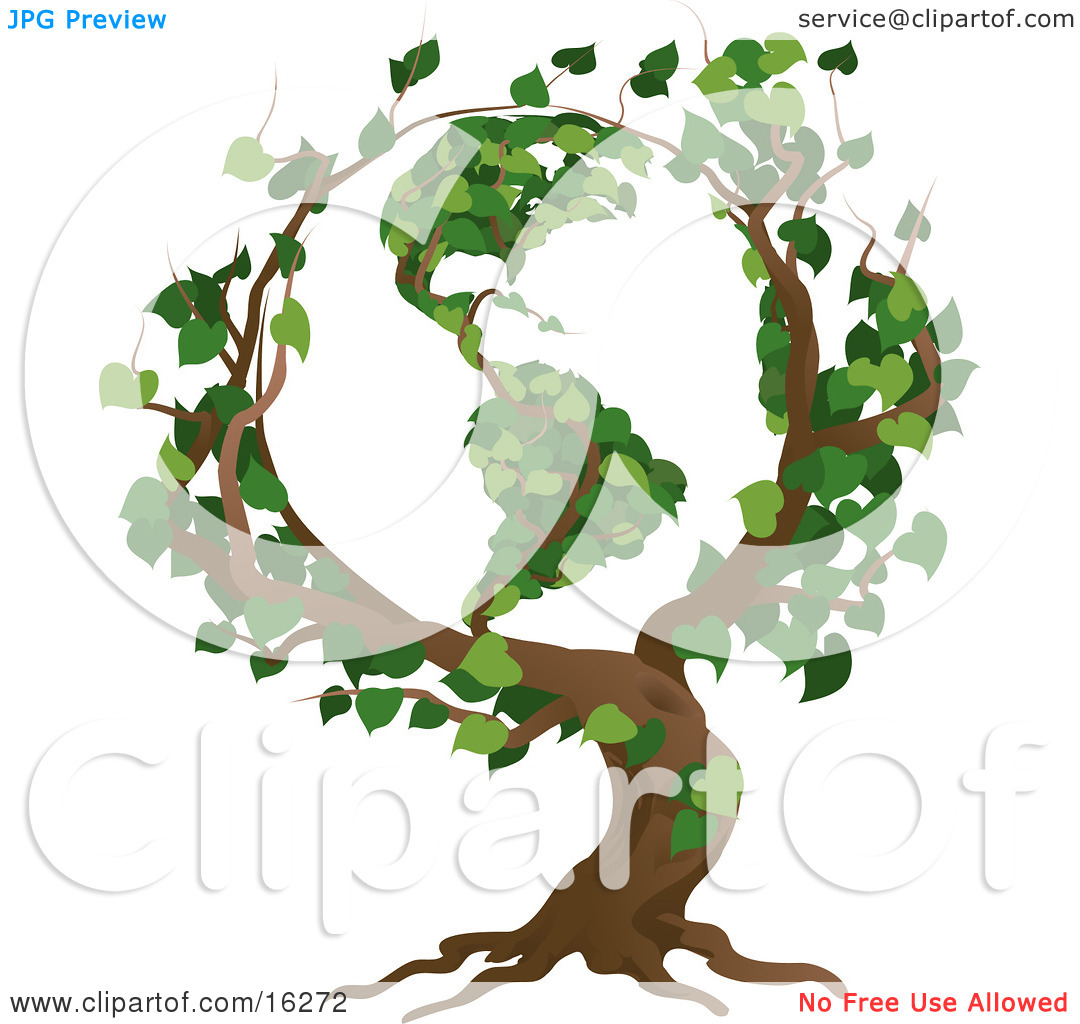Tree With Branches Growing In The Shape Of The Earth With The.