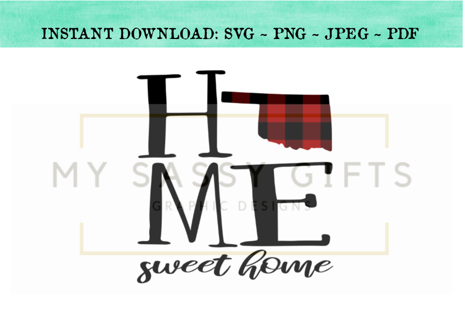 Oklahoma State Home Sweet Home Buffalo Plaid Print Cut File.