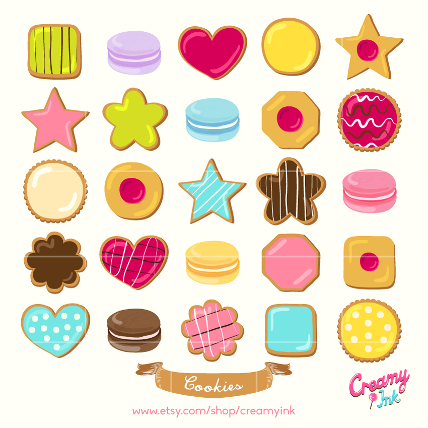 Cookies digital clip art featuring different types of cookies.