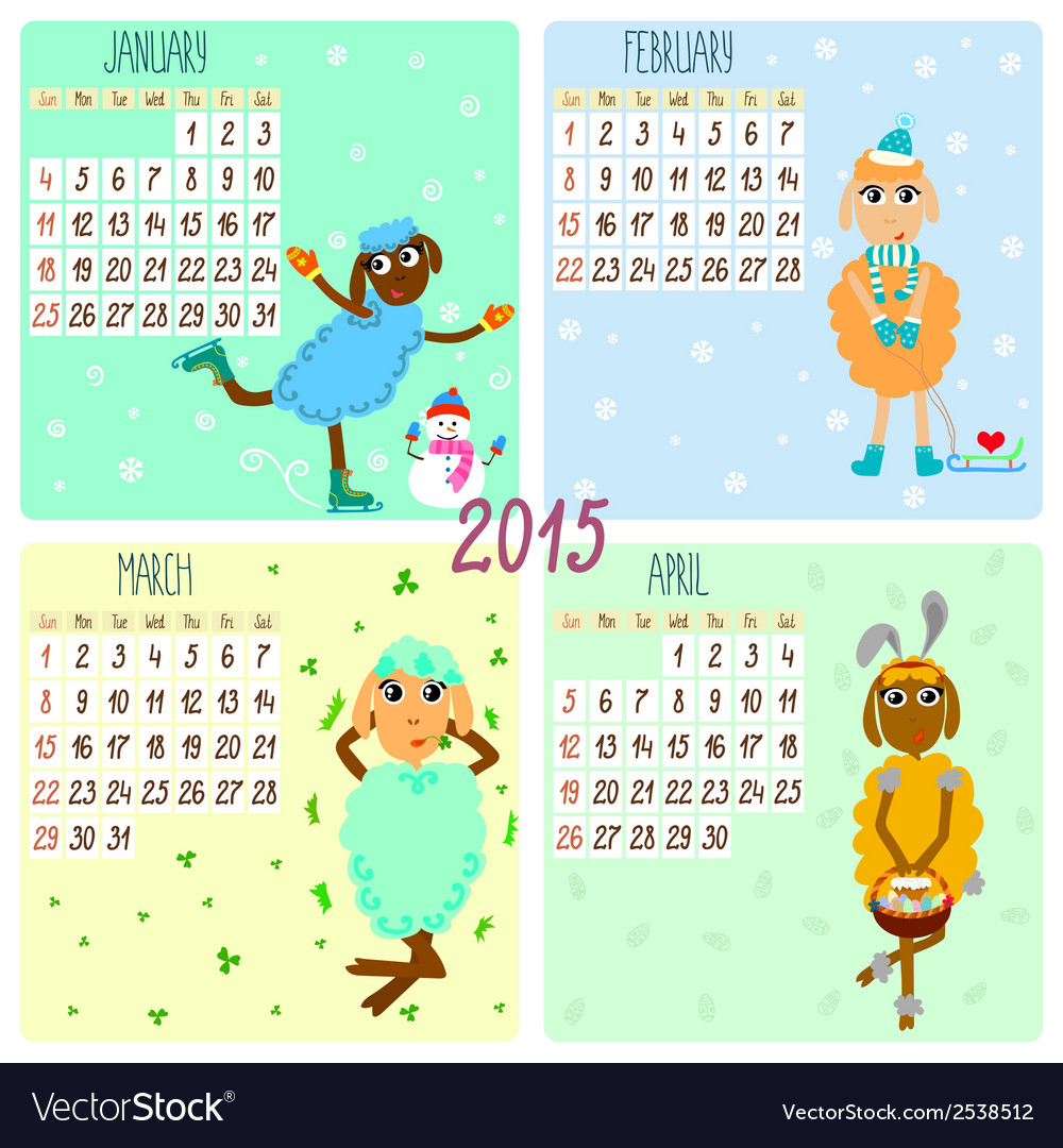 2015 calendar with cartoon and funny sheep winter.