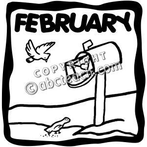 February Clip Art Black And White.