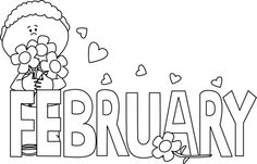February Black And White Clipart.