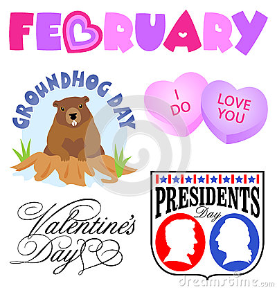 The Word February Clipart.
