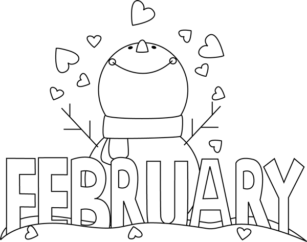 February Clipart Black And White.