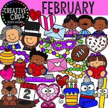 February Clipart {Creative Clips Clipart}.