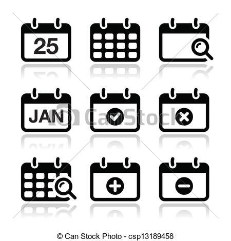 Calendar fecha vector iconos fijados. Iconos del calendario.