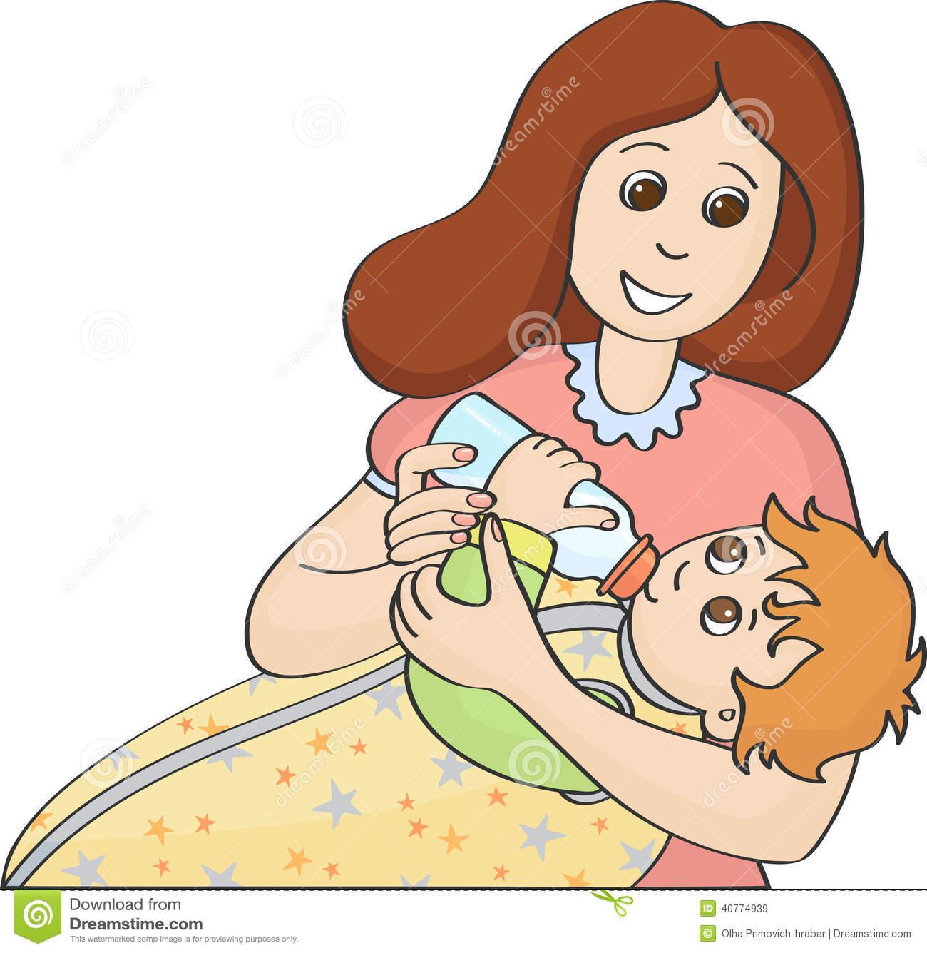Mom Feeding Baby Clipart.