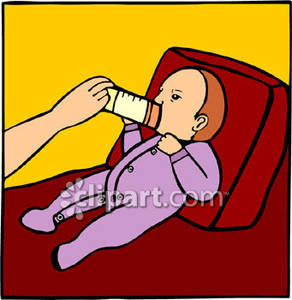 Baby Being Fed a Bottle Royalty Free Clipart Picture.