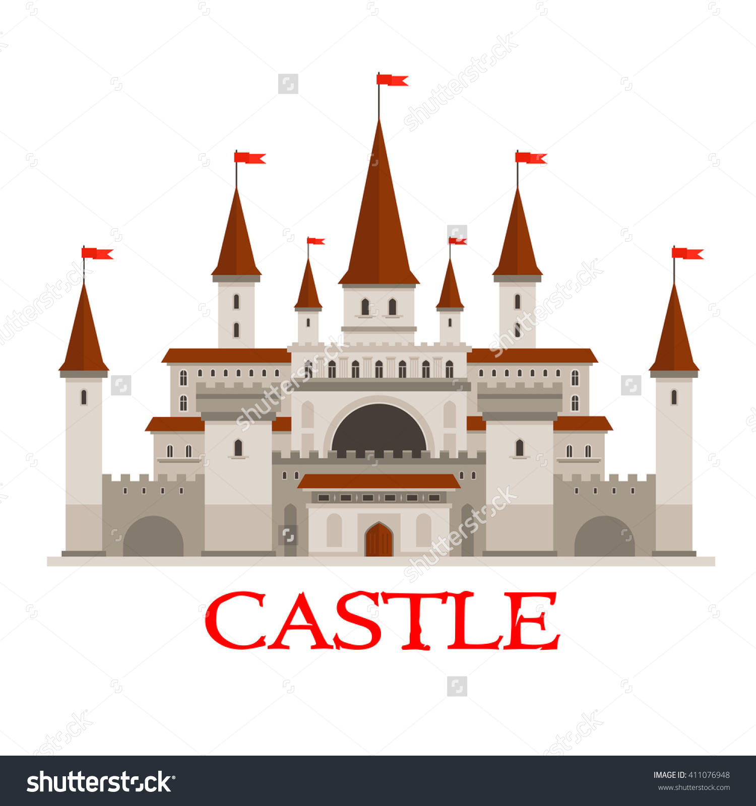 Medieval Castle Fortress Icon Red Flags Stock Vector 411076948.