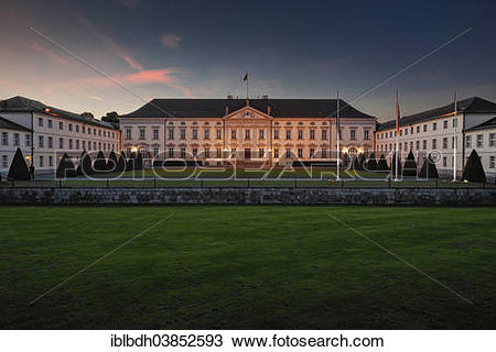 """Stock Photo of """"Schloss Bellevue Palace, official residence of the."""