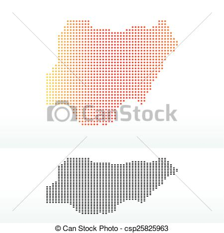 Clip Art Vector of Map of Federal Republic Nigeria with Dot.