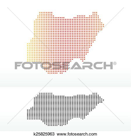 Clipart of Map of Federal Republic Nigeria with Dot Pattern.