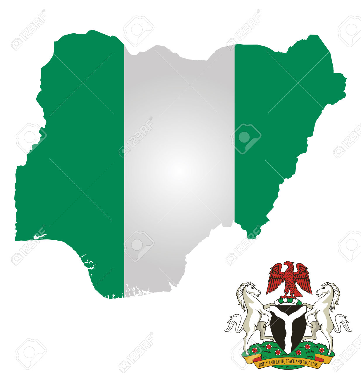Flag And Coat Of Arms Of The Federal Republic Of Nigeria Overlaid.