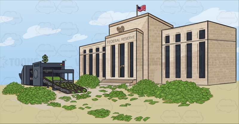 Federal Reserve Quantitative Easing Cartoon Stock Clipart.